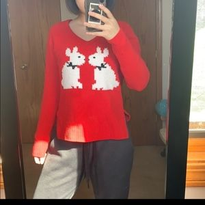 Betsey Johnson Chenile Sweater Red Bunny M